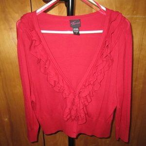 Red cardigan sweater 3/4 sleeve